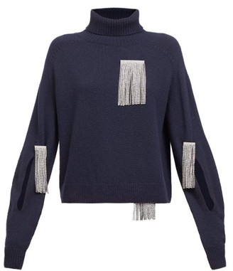 Christopher Kane Crystal-tassel Cut-out Wool-blend Sweater - Navy