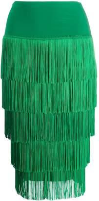 Norma Kamali fringed pencil skirt