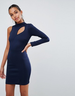 Asos Design One shoulder Long Sleeve Cut Out Front Mini Dress-Navy