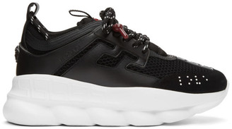 Versace Black and White Chain Reaction Sneakers
