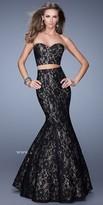 La Femme Two Piece Lace Prom Dress