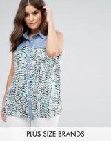 Koko Denim Contrast Chevron Print Shirt