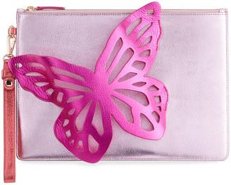 Sophia Webster Flossy Metallic Butterfly Pouchette Wristlet