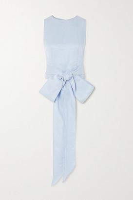BONDI BORN Tie-front Woven Top - Light blue
