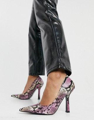 ASOS DESIGN Primary square back court shoes in multi snake