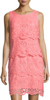 Chetta B Tiered Lace Sleeveless Dress, Coral