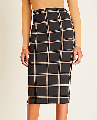 Ann Taylor Petite Plaid Pull On Pencil Skirt