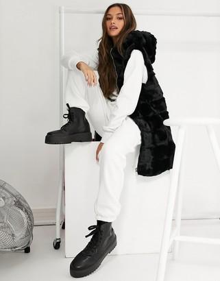 Jayley faux fur hooded zip through gilet in black