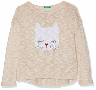 Benetton Girls Pullover Sweater L / s Pink (Pink Melange 902) One size (Manufacturer Size: XX)