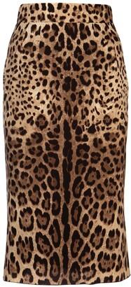 Dolce & Gabbana Leopard Print Midi Skirt