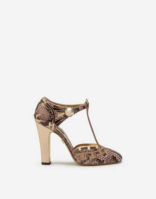 Dolce & Gabbana Python Print And Mirrored Calfskin T-Strap Shoes