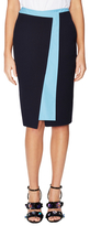 Jil Sander Silk Colorblock Knee Length Skirt