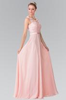 Elizabeth K - Embroidered Illusion Top Chiffon A Line Dress GL2364