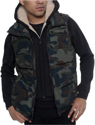 Sean John Men Layered Camo Hoodie Vest