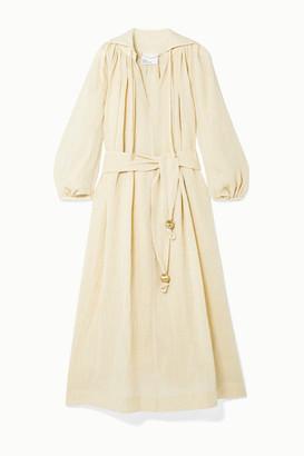 Lisa Marie Fernandez + Net Sustain Poet Belted Metallic Linen-blend Gauze Midi Dress - Cream
