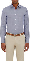 Luciano Barbera Men's Micro-Houndstooth Shirt-NAVY