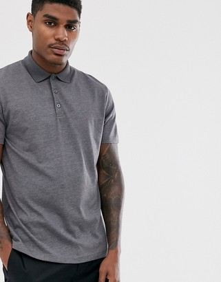 Asos Design DESIGN jersey polo in charcoal marl-Grey