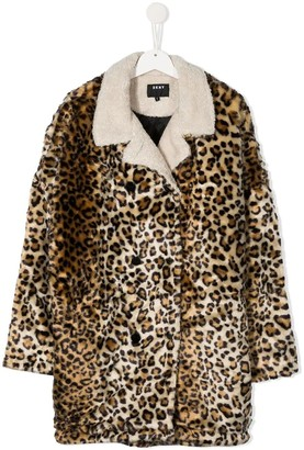 DKNY Faux-Fur Leopard Coat