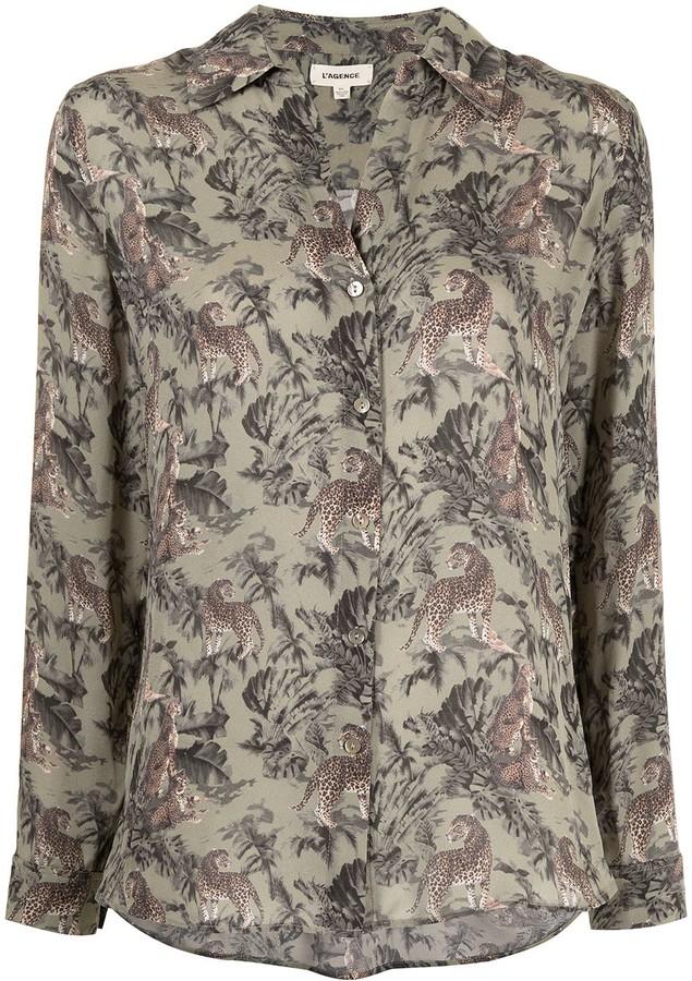 L'Agence Nina leopard-print silk shirt