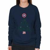 Thumbnail for your product : Marvel Comics Christmas Captain America Tis The Season to Be Heroic Women's Sweatshirt Navy Blue