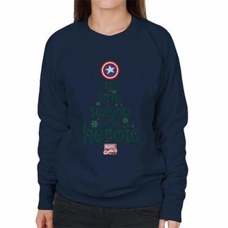 Marvel Comics Christmas Captain America Tis The Season to Be Heroic Women's Sweatshirt Navy Blue