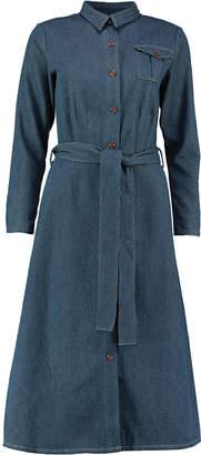 Lowie Denim Tie Waist Midi Dress - S - Blue