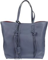 Tod's Leather Shopper Bag From Blue Leather Shopper Bag With Double Top Handle, Snap Button Closure, Internal Zip Pocket And One Large Interior Compa