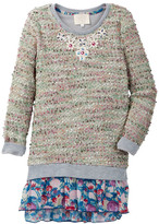 Hannah Banana Sweater Knit Layered Dress With Lace Applique (Toddler & Little Girls)