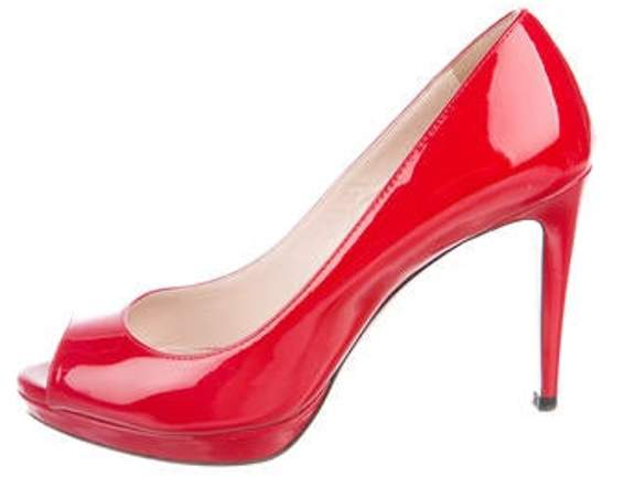 263c3101935 Patent Leather Pointed-Toe Pumps Red Patent Leather Pointed-Toe Pumps