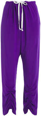 By Malene Birger Cropped Gathered Silk Crepe De Chine Tapered Pants