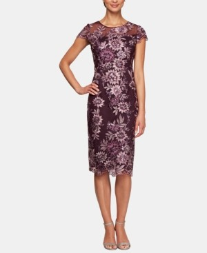 Alex Evenings Embroidered Illusion Midi Dress