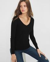 White House Black Market Ribbed V-Neck Sweater