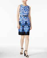 Connected Petite Belted Damask-Print Dress