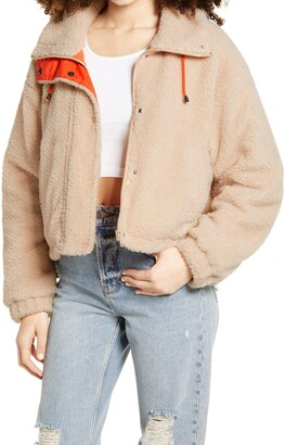 BP Neon Faux Shearling Bomber Jacket