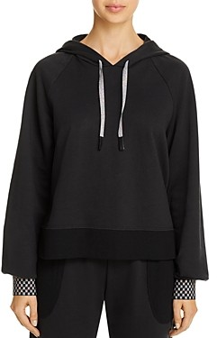 Terez Checkerboard-Cuff Hooded Sweatshirt