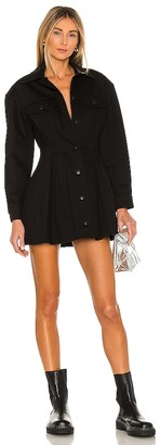 Alexander Wang Fit And Flare Black Denim Jacket Dress