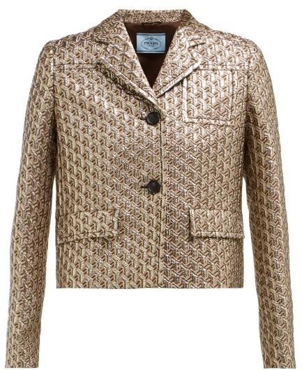 Prada Cropped Single Breasted Geometric Brocade Jacket - Womens - Silver Multi