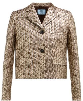 Prada Cropped Single-breasted Geometric-brocade Jacket - Womens - Silver Multi