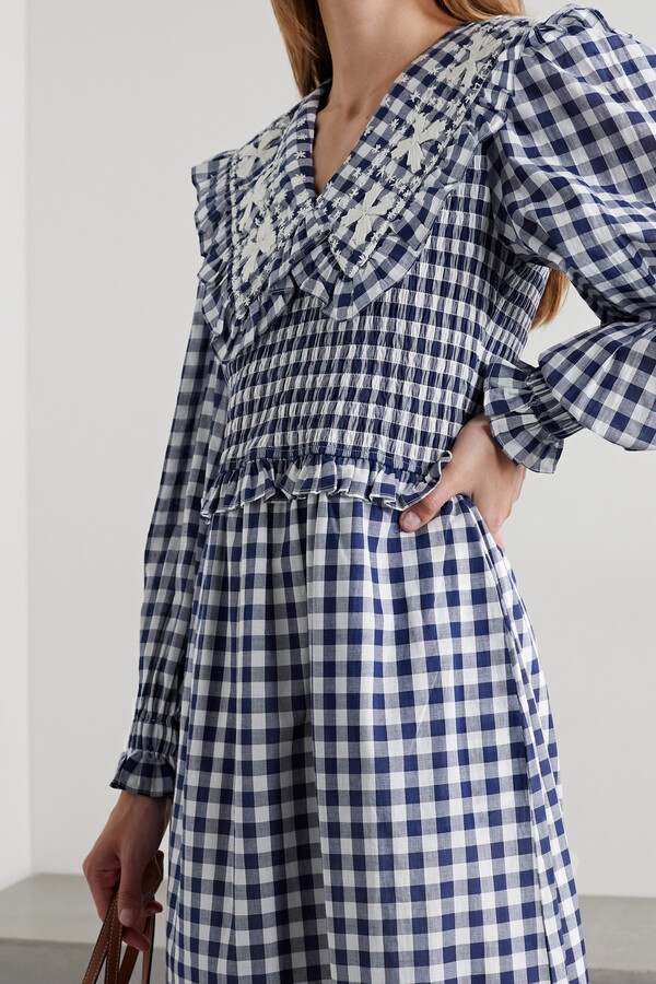 Thumbnail for your product : Sea Gina Shirred Embroidered Gingham Cotton-voile Midi Dress - Blue