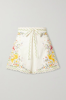 Zimmermann Carnaby Belted Embroidered Linen And Cotton-blend Shorts - White