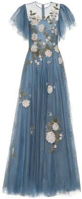Costarellos Harla embroidered glitter-tulle gown