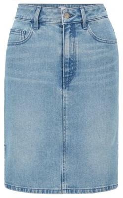 BOSS Slim-fit skirt in bright-blue stretch denim
