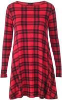 Outofgas Ladies Womens Celeb Style Vicky Tartan Check Print Swing Fla Skater Tee Dress - Tartan - (95% Polyester, 5% Elastane)