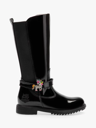 Lelli Kelly Kids Children's Frances Tall Boots, Black Patent