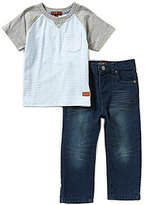 7 For All Mankind Baby Boys 12-24 Months Striped Raglan Tee & Standard Denim Jeans