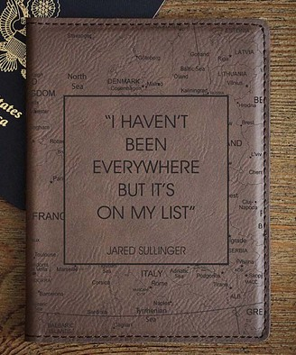 Etchey Passport Holders Black - 'Haven't Been Everywhere' Faux Leather Personalized Passport Cover