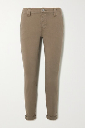 J Brand Paz Brushed Cotton-blend Slim-leg Pants - Green