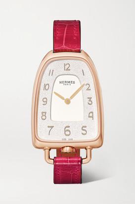HERMÈS TIMEPIECES Galop D'hermes 26mm Medium 18-karat Rose Gold And Alligator Watch