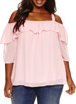 Boutique + + 3/4 Sleeve Scoop Neck Blouse-Plus