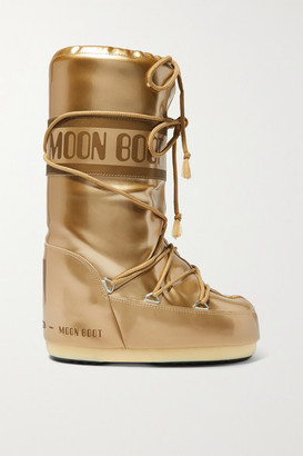 Moon Boot Glance Metallic Shell And Rubber Snow Boots - Gold